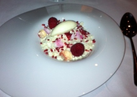 Organic raspberries, gooseberries, almonds, rose, coconut, vanilla