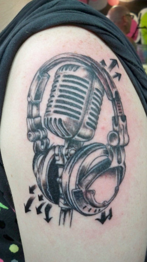 the gallery for headphone tattoo designs. Black Bedroom Furniture Sets. Home Design Ideas