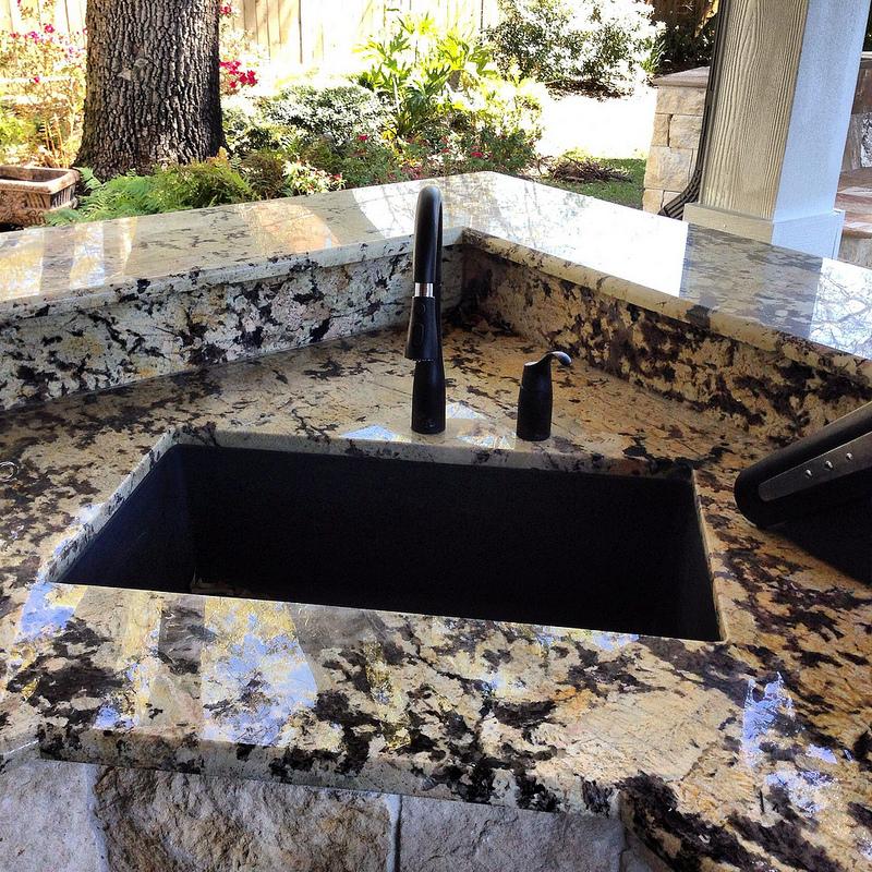 Stone Sink Garden : Granite sink in outdoor kitchen