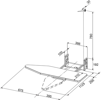 Robinhood ICKIT Easyiron Ironing Centre Dimensions Diagram