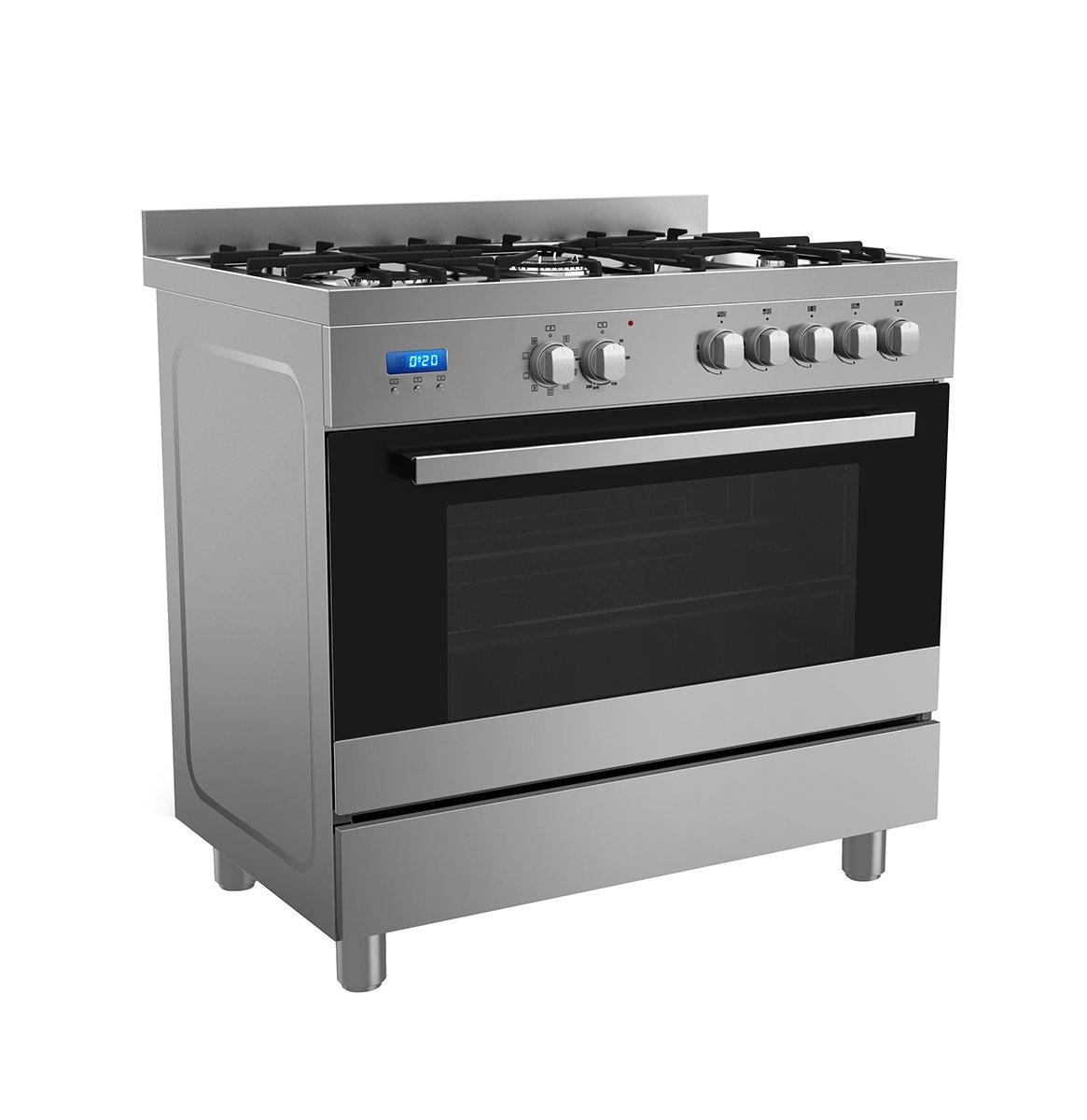 Oven Gas Stove Midea 36sme5gfr00p48 Freestanding Dual Fuel Oven Stove