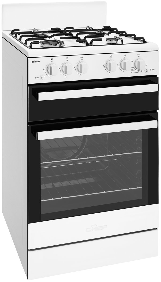 Chef CFG503WBNG 54cm Freestanding Natural Gas Oven/Stove ...