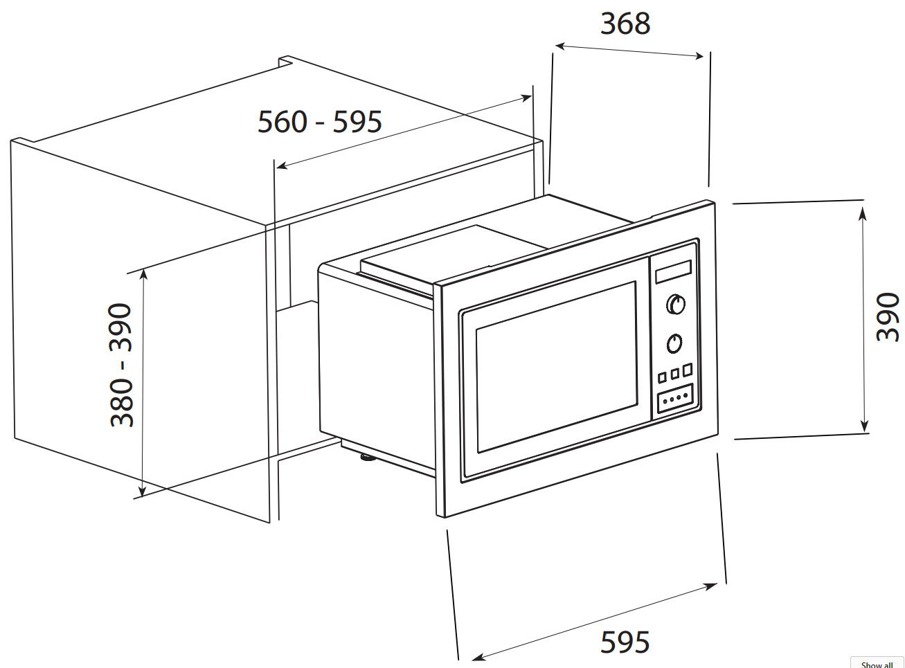 New Ilve Iv602bim 25l Built In 800w Microwave Oven With