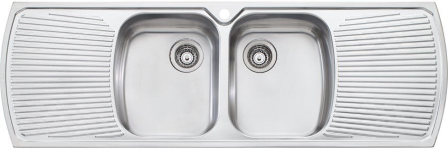 Oliveri MO753 Monet Double Bowl with Double Drainer Topmount Sink ...