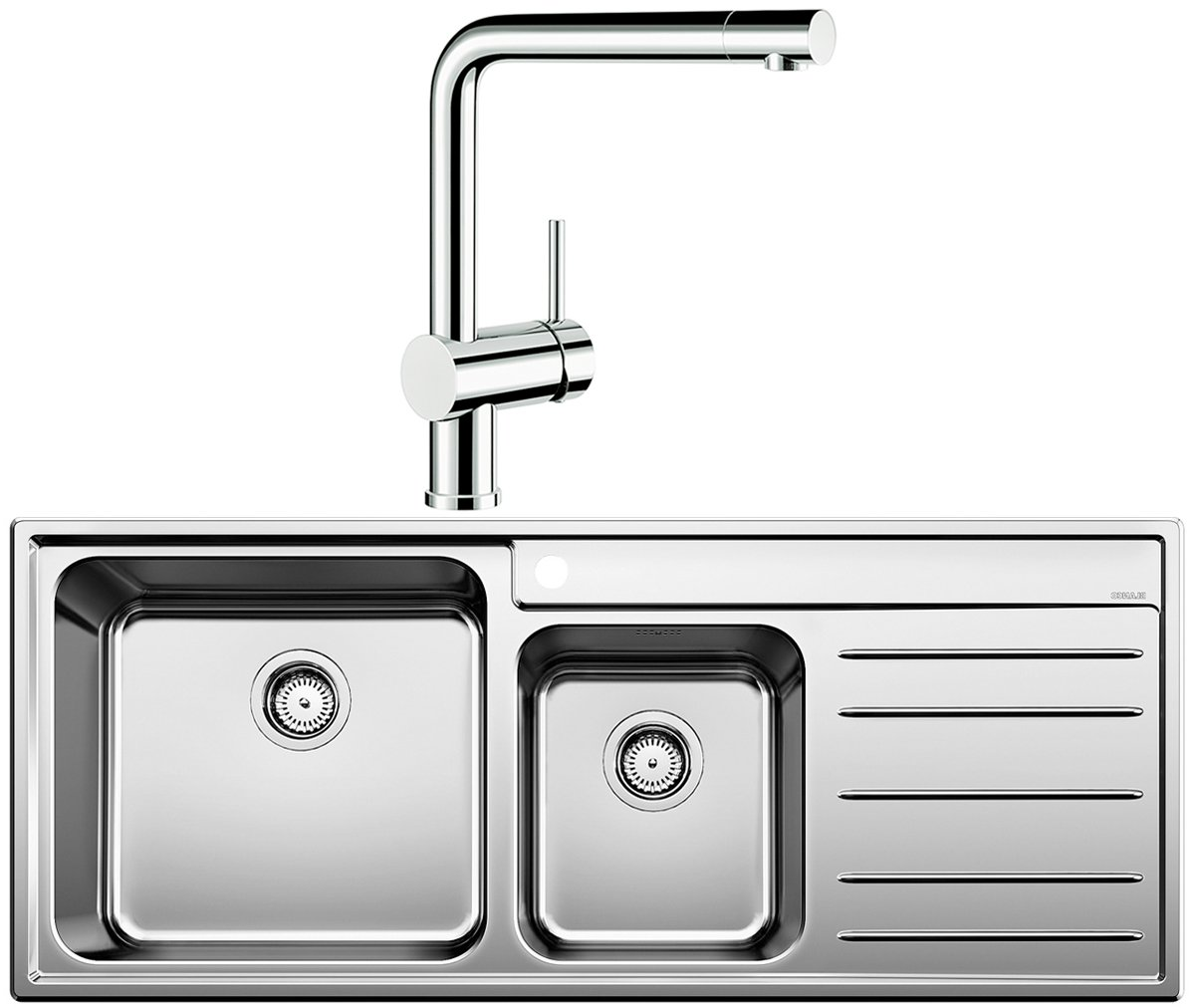 Blanco NAYA9SLP LINUS Double Bowl Right Hand Drainer Sink And Tap |  Appliances Online