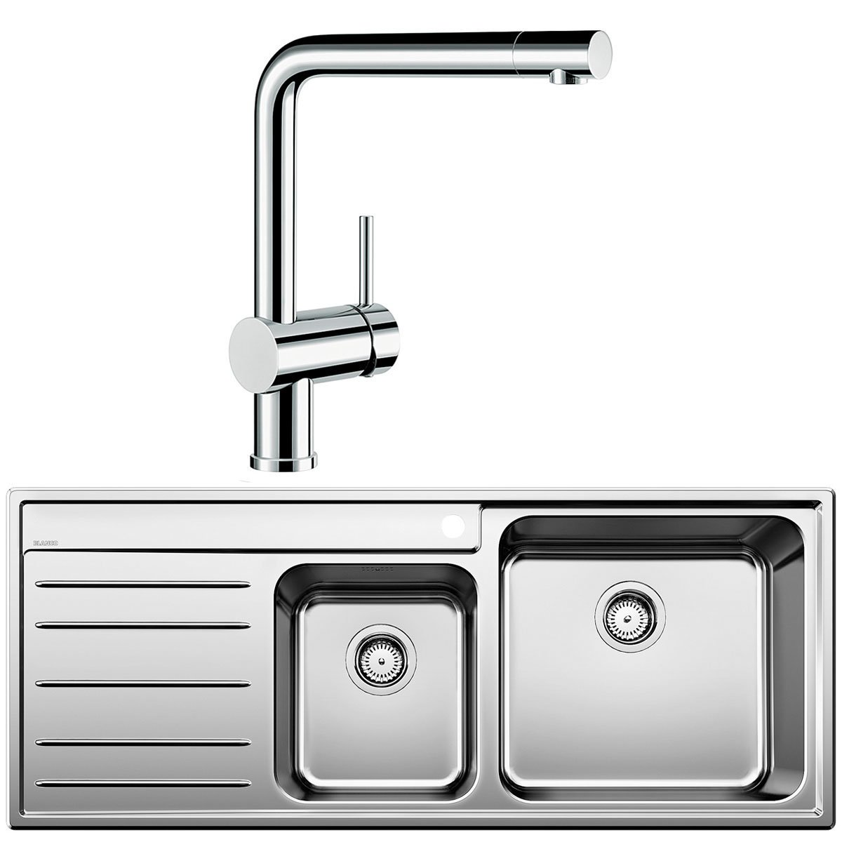 Blanco NAYA9SRP LINUS Double Bowl Left Hand Drainer Sink And Tap |  Appliances Online