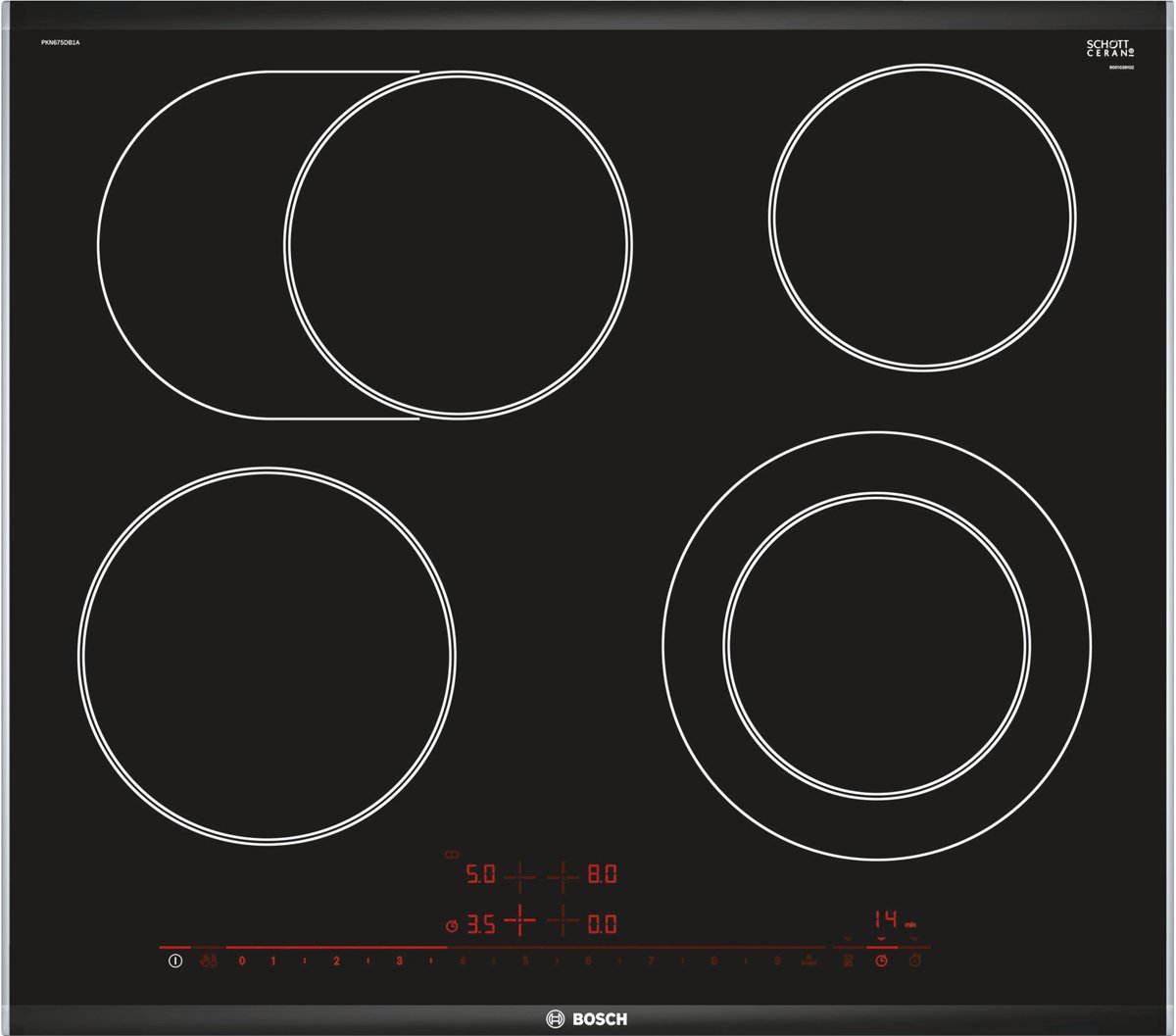 Bosch PKN675DB1A 60cm Serie 8 Electric Ceramic Cooktop | Appliances Online