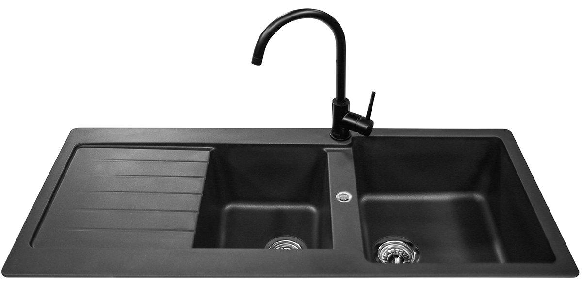 abey td200btpk schock 1 and 34 bowl left hand drainer sink. Interior Design Ideas. Home Design Ideas