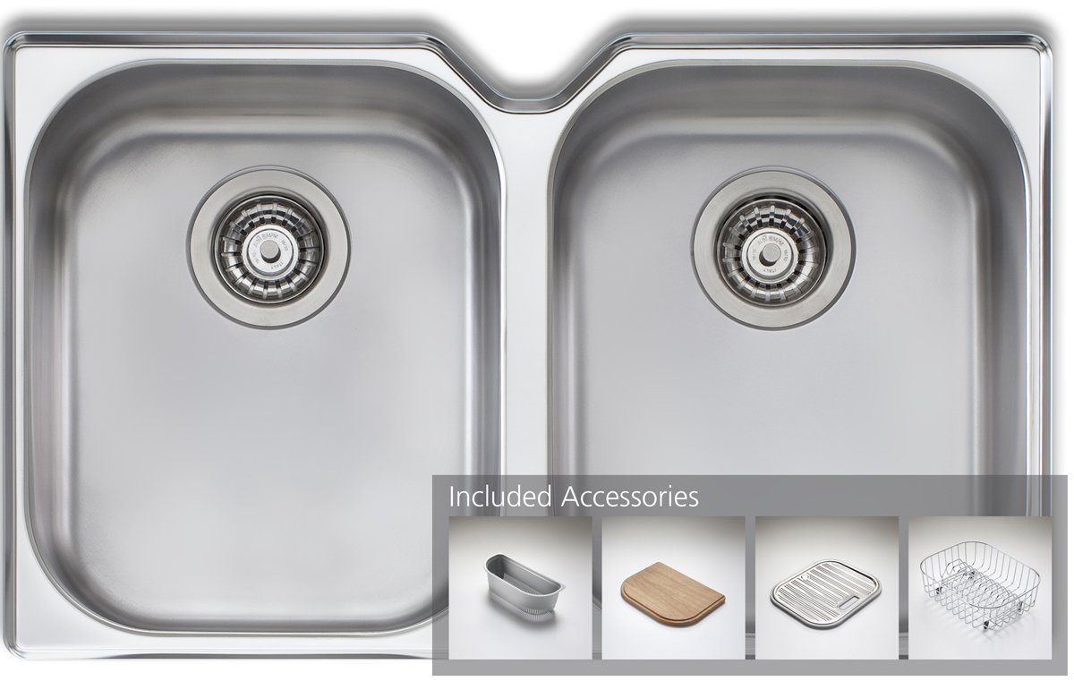 Oliveri WA10UPACK Diaz Double Bowl Undermount Sink Pack | Appliances Online