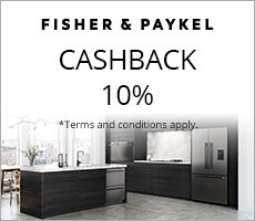 Cashback 10% when you spend $7,000 or over on selected Fisher & Paykel Kitchen Appliances